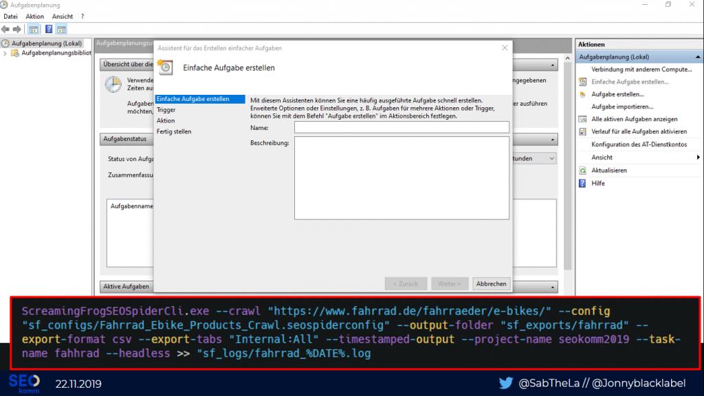 """Folie """"Crawl Scheduling Windows Aufgabenplaner mit Batch-Datei"""""""